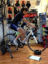 Gina getting fit on her new Team Bike